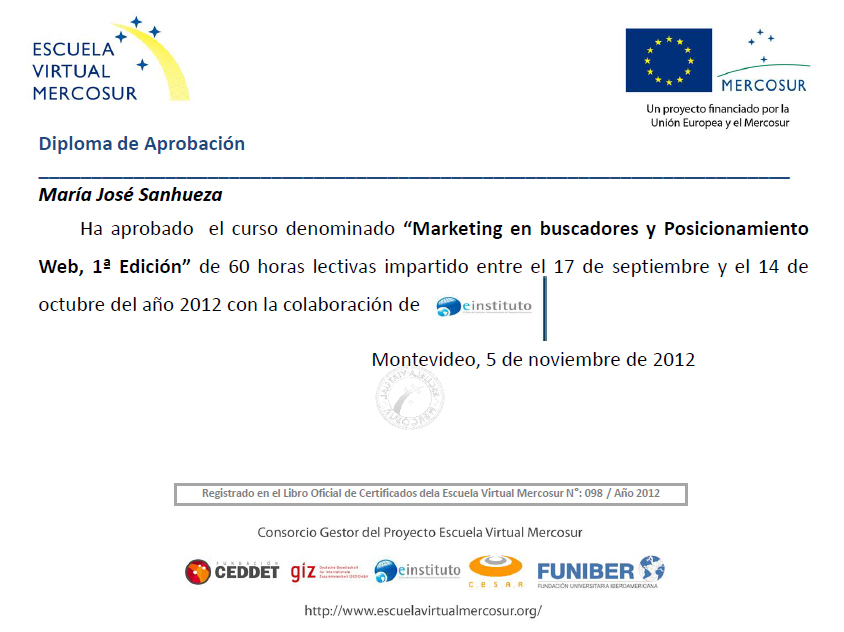 Certificado Marketing en Buscadores y Posicionamiento web SEO intensivo. Beca Mercosur.